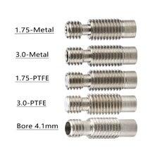 5 sztuk/partia E3D V6 przerwa ciepła Hotend gardła dla 1.75/3.0/4.1mm w całości z metalu/z PTFE, ze stali nierdzewnej zdalne rura podająca rury