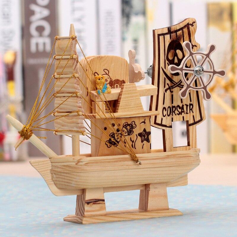1pc a mano vela grande caja de música de madera regalo de Navidad para chico de madera caja de música con diseño de carrusel casa mecanismo de caja de música