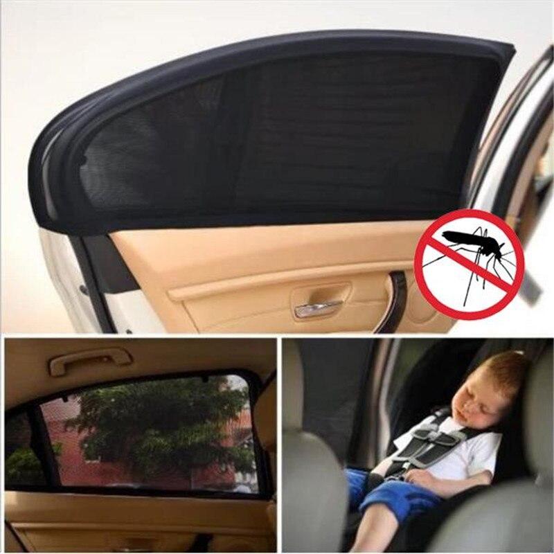 Protector de malla para ventana de coche, 2 uds., mosquitera repelente de mosquitos, protección UV, antimosquitos