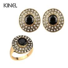 Kinel-bijoux Vintage, collection de bijoux de demoiselle dhonneur, ensemble de bijoux ronds couleur or cristal, livraison gratuite