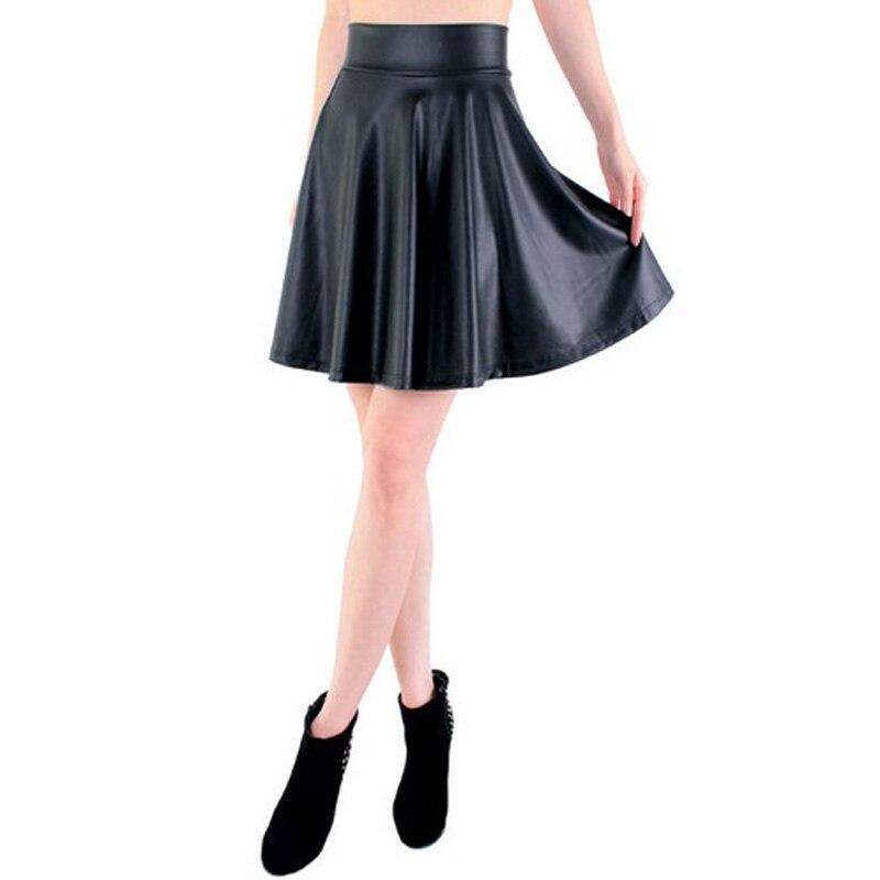 Бесплатная доставка Новая юбка-клеш из искусственной кожи с высокой талией Повседневная мини-юбка однотонная Черная Юбка До Колена S/M/L/XL