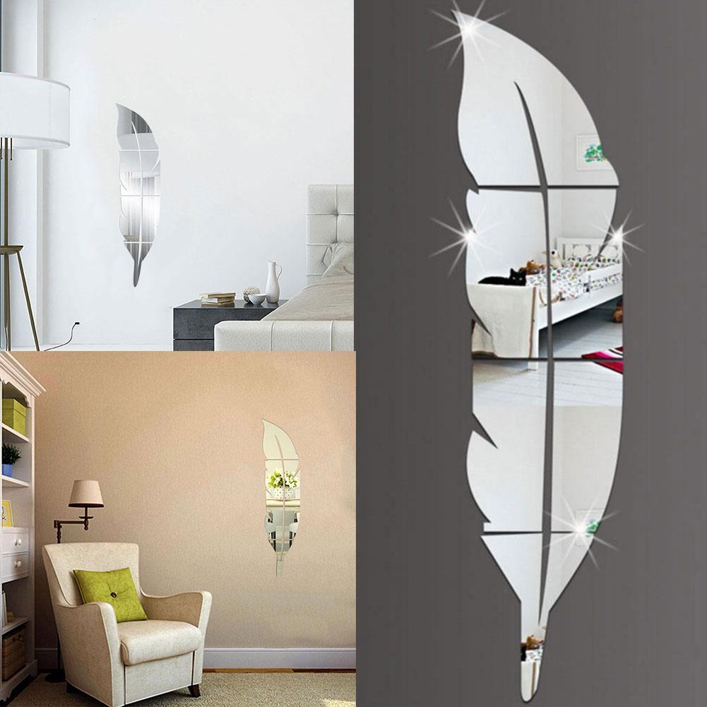 DIY 3D зеркальные настенные наклейки перо виниловая наклейка украшение дома спальни комнаты Аксессуары Настенная Наклейка