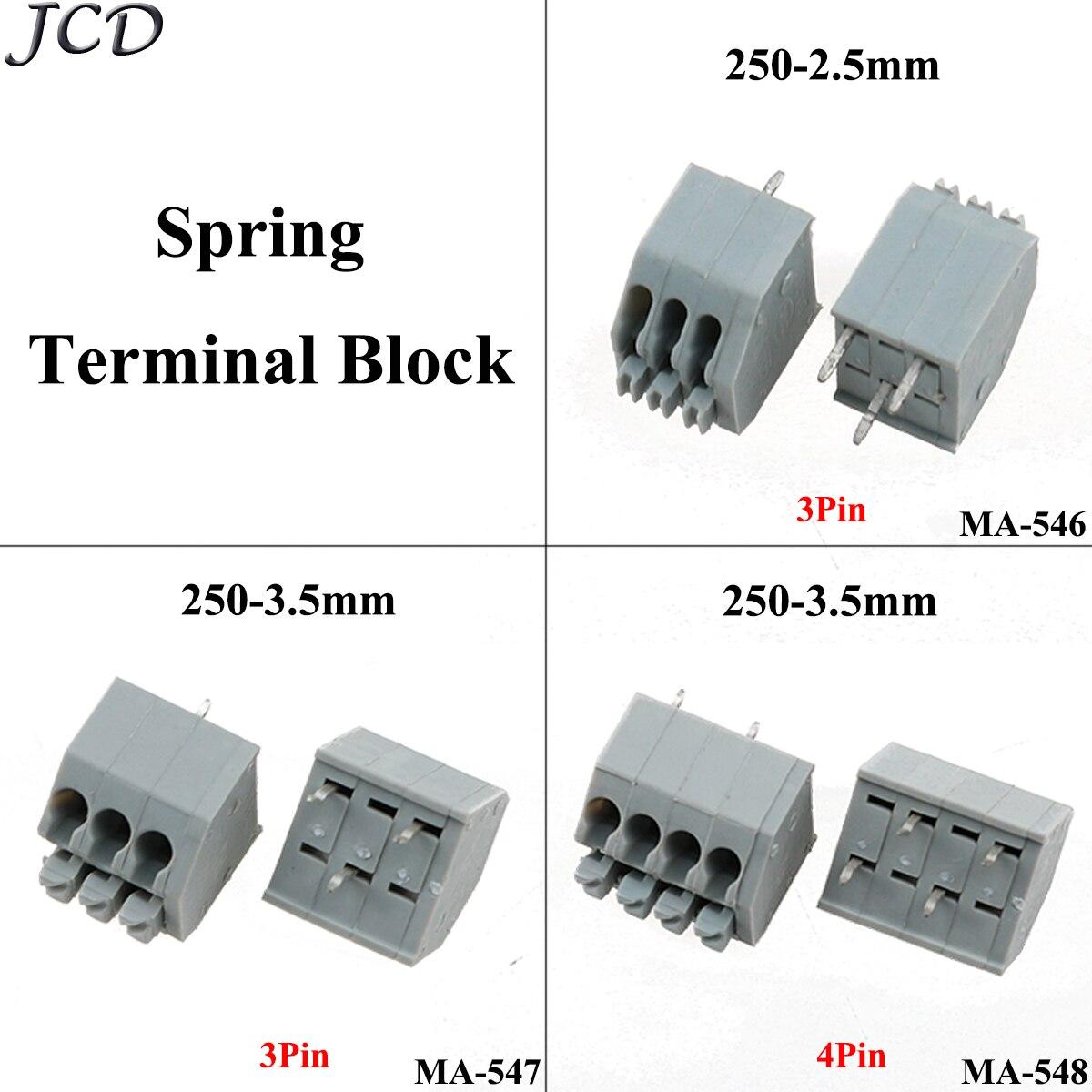 JCD 250-2,5mm/3,5mm de conexión tipo de resorte Bloque de terminales Pcb 3 P/4 P conector de bloque de terminales gris