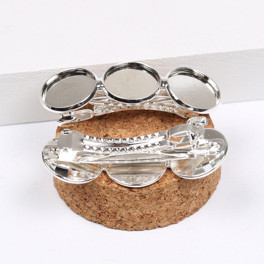 Reidgaller 10 Uds clip de metal plateado Ajuste de encaje en la bandeja 16mm camafeo cabochon base diy pin de pelo accesorios para joyería