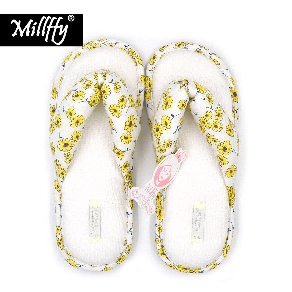 ¡Nuevo! Zapatillas de verano de algodón con flores y margaritas amarillas japonesas de Millffy