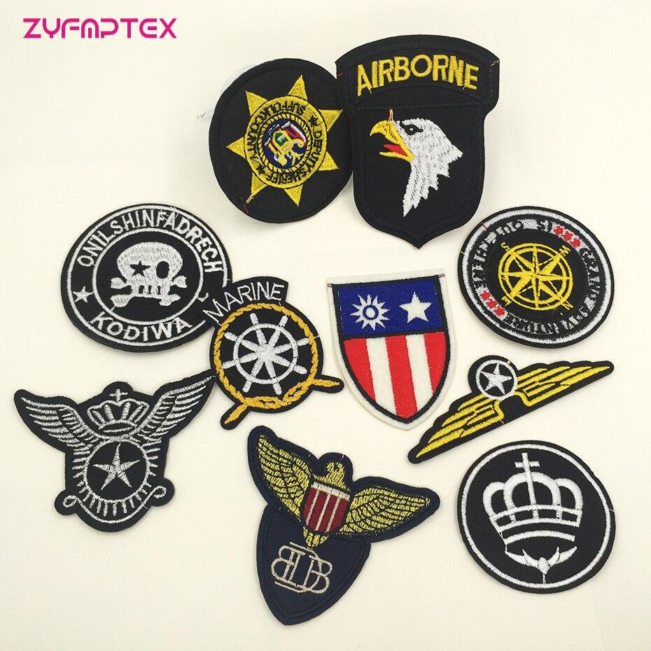 ZYFMPTEX Mix 10 unids/lote parches militares ejército para ropa bordado hierro en juego de parches Artesanías hechas a mano logística puede seguir