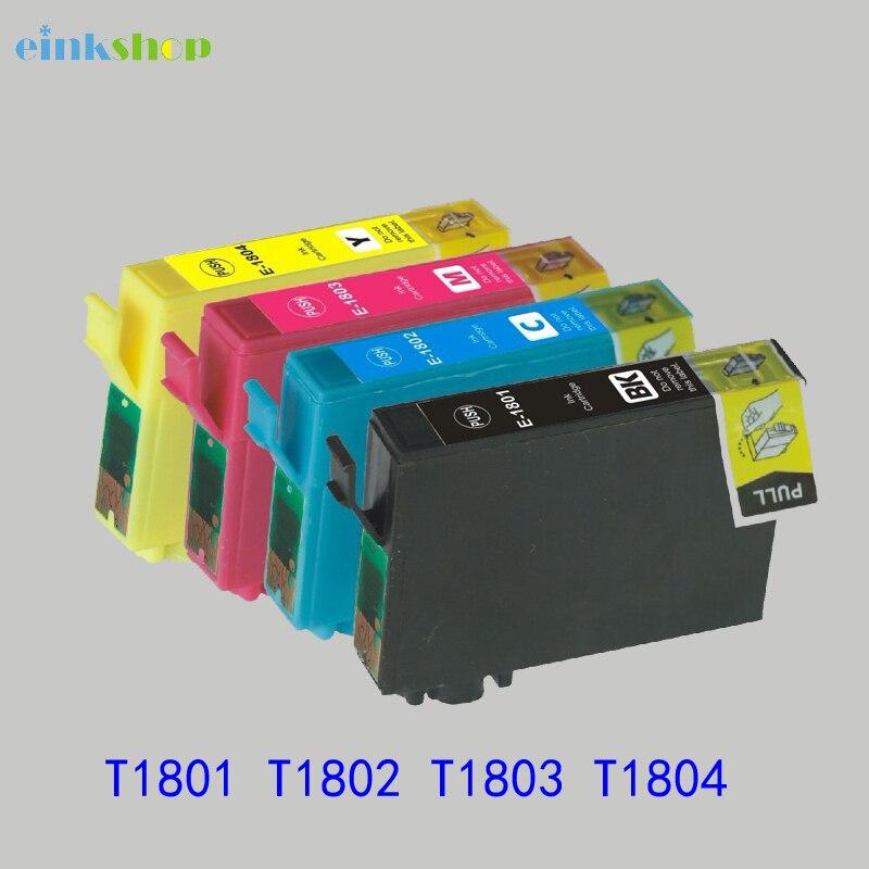 Einkshop 1set T1801-T1804 Cartouche Dencre pour Epson XP30 XP102 XP202 XP205 XP305 XP405 XP225 XP322 XP325 XP422 XP425 imprimante