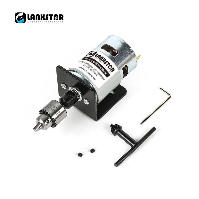 New DC 24V 10000rpm 775 Motor Double Ball Bearings Mini PCB Hand Drill Press Drill Chuck 0.3~4mm JTO Miniature Electric Drill