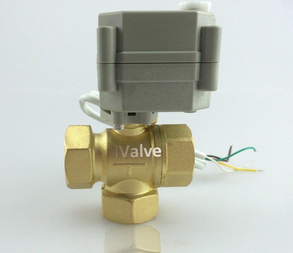 HSH-Flo DC12V 3 vías válvula de bola motorizada NPT/BSP Reduce el diámetro de latón, 2 cables de Control de la válvula eléctrica con Control Manual CR2-01