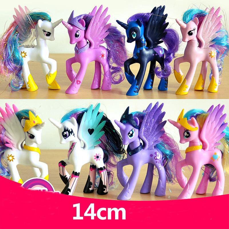 5.5 Polegadas Pequeno Unicórnio Cavalo PVC Princesa Celestia Princesa Luna PNY Figura de Ação Brinquedos de Presente de Natal