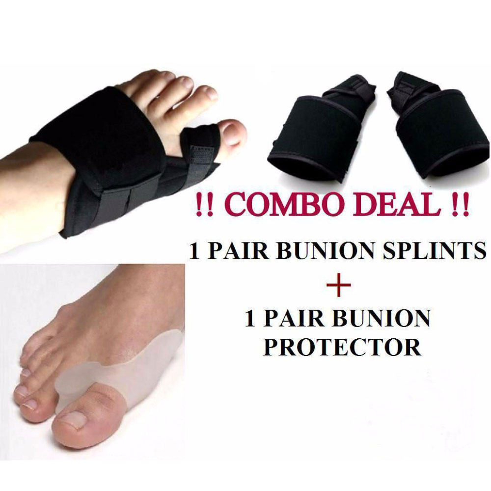 4Pcs Foot Care Tool 1 pair Soft Bunion Splint Correction Corrector & 1 pair Gel Silicone Bunion Corrector Big Toe Separators
