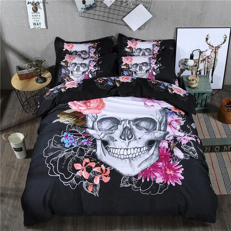 Ensemble de literie 3D tête de mort   Motif de fleurs roses, noir Polyester, 240x220, housse de couette, avec taie doreiller, simple reine, Double, 3 pièces, 80015
