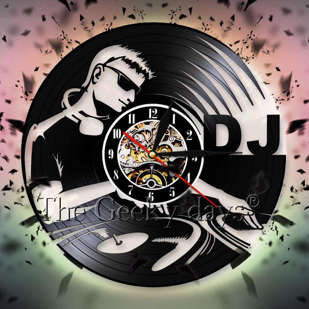DJ Player Silhouette Decorative Wall Clock Music Vinyl Record Wall Clock Watches Personality Wall Art Decor For Night Club Pub