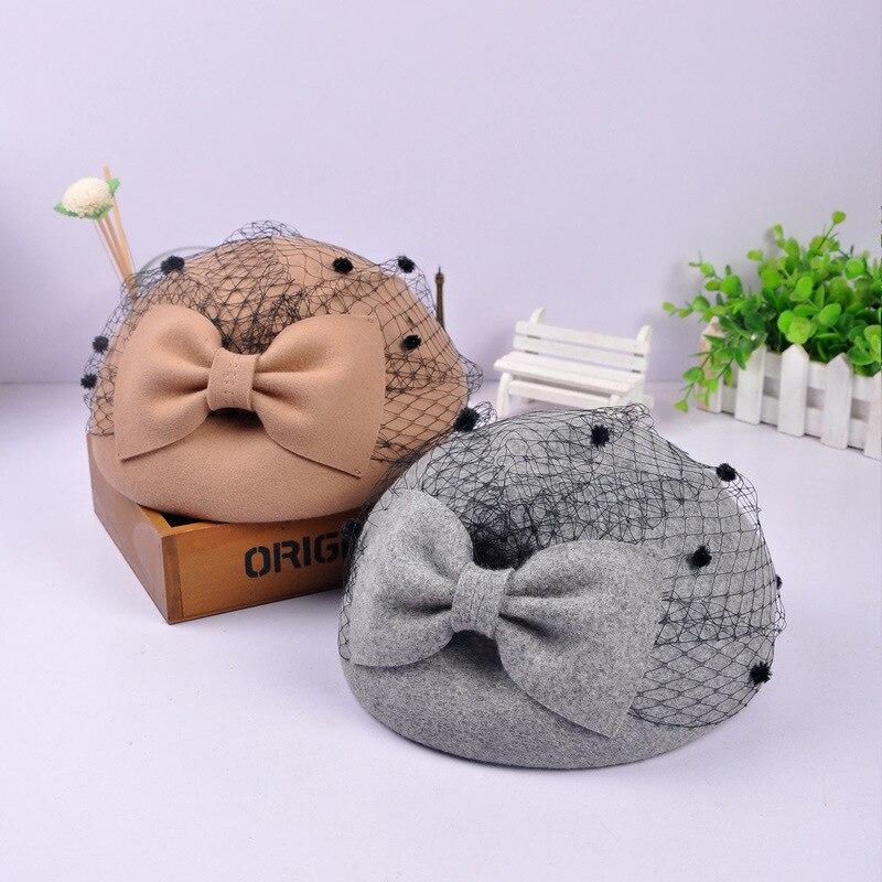 Sombrero de fieltro de lana maciza Pilllbox, sombreros Vintage con lazo, velo para fiesta, sombrero para mujer, sombreros para bodas, carrera diaria Derby
