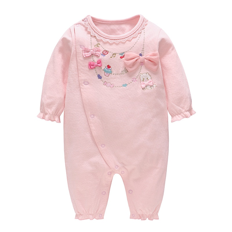 Ropa para niños primavera nuevo encantador gato bordado puro algodón de manga larga mamelucos de bebé