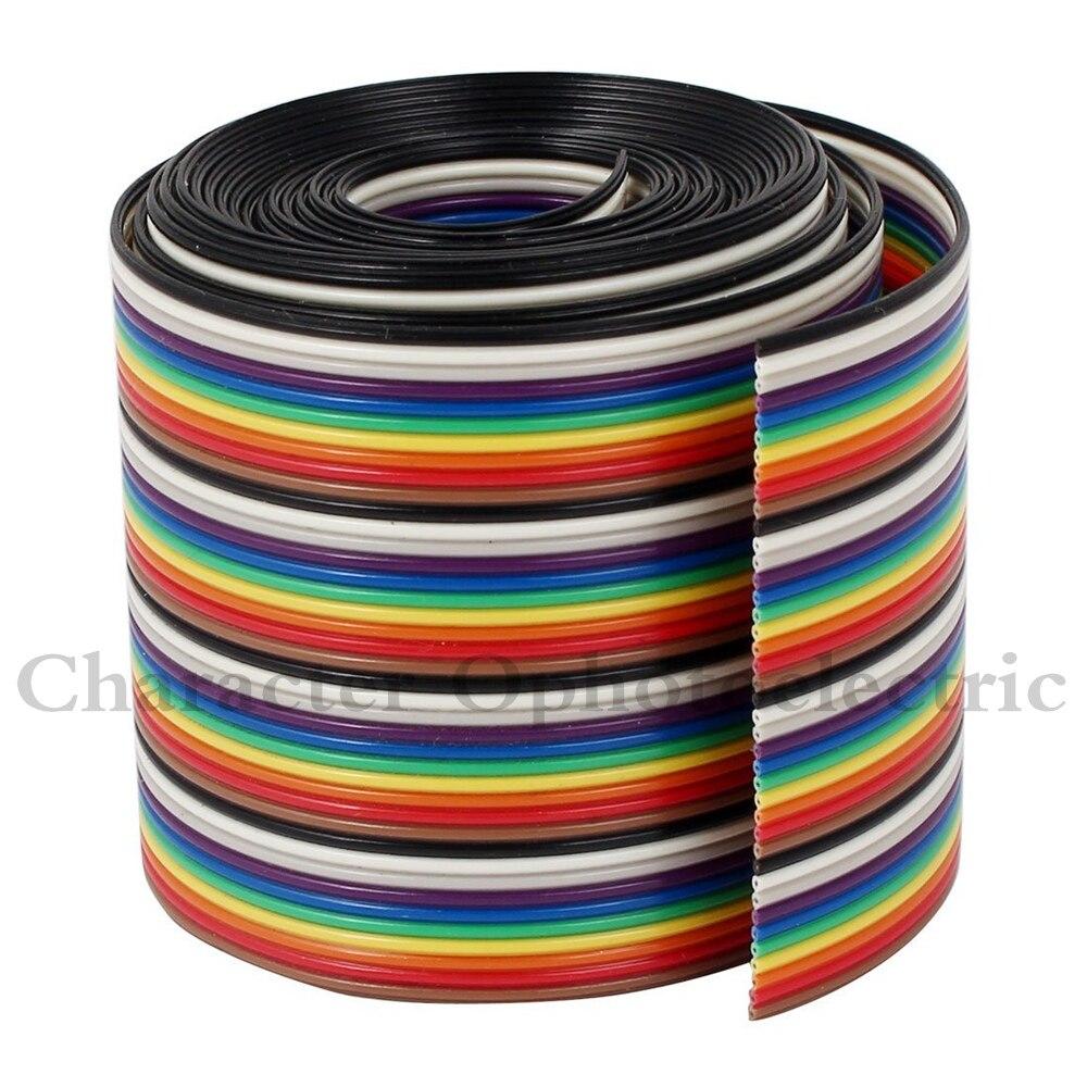 1 m 2 m 3m 4 m 5 m 10 m 40 pinos cor lisa arco-íris fita idc cabo de fio arco-íris cabo