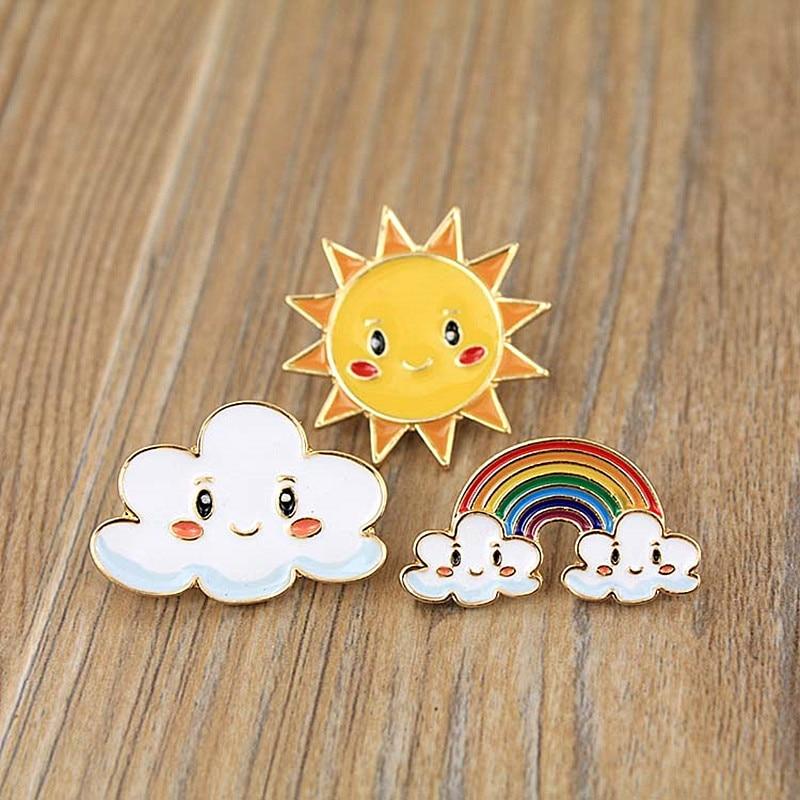 Timlee X358 Cartoon Sweet Sun  Rainbow Cloud  Metal Brooch Pins Wholesale