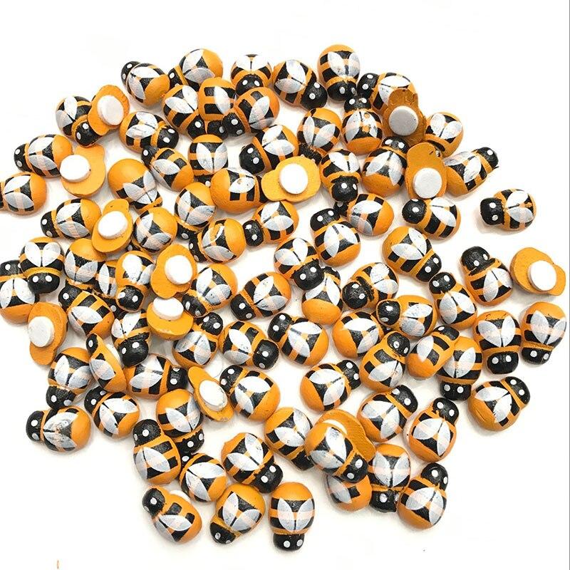 Mini autocollant abeille en bois 3D   100 pièces, décoration murale pour réfrigérateur, Scrapbooking et soldes