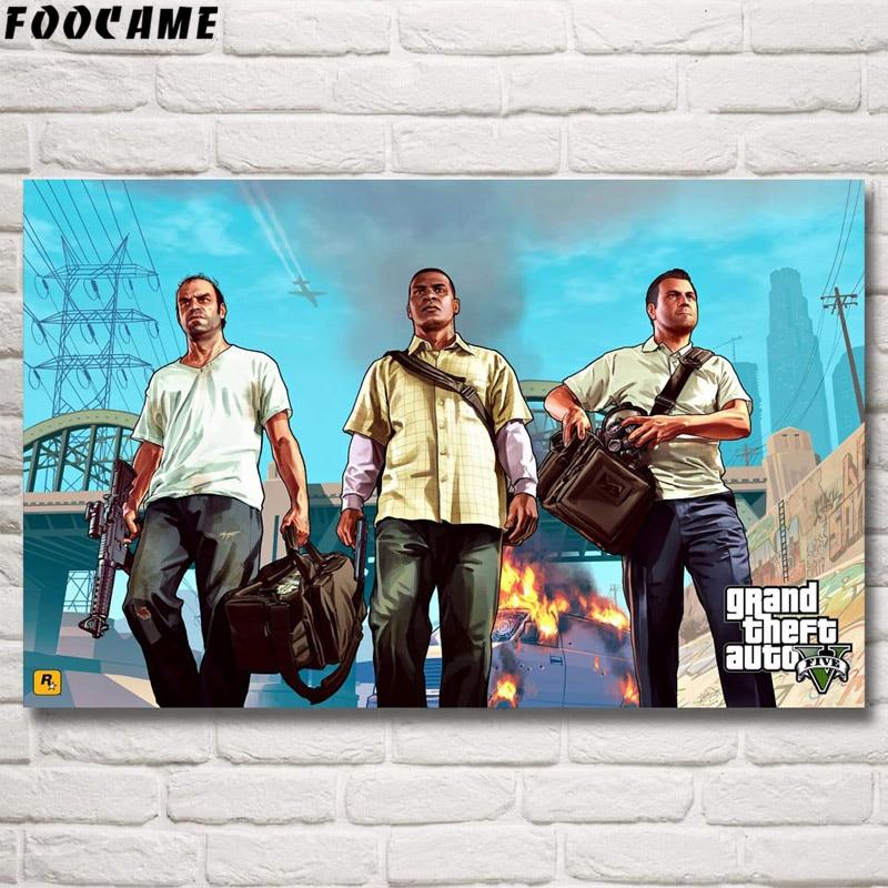 FOOCAME Grand Theft Auto V GTA 5 pósteres de juego e impresiones arte de seda pinturas para decoración de pared dormitorio cuadro decorativo sala de estar
