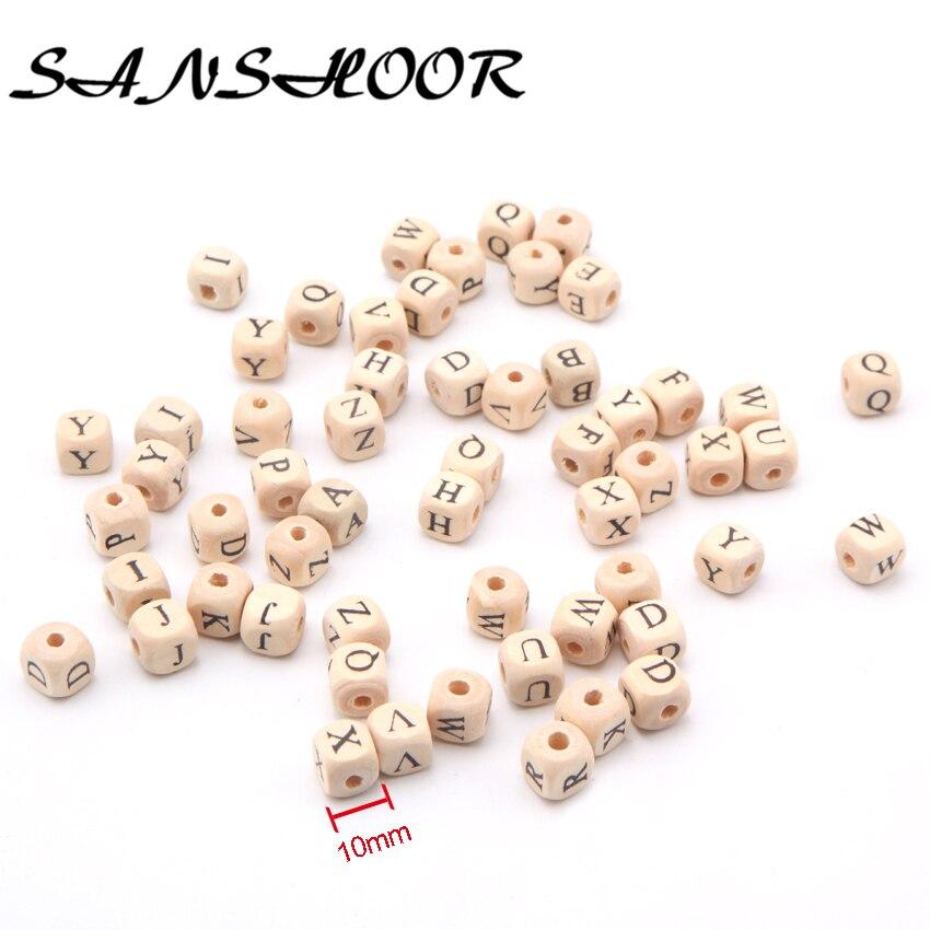 SANSHOOR, separador de madera Natural con letras del alfabeto seleccionadas de 10mm, cuentas de cubo, juguete para niños, Clip para chupete DIY, joyas artísticas para arte de Chico, 200 Uds.