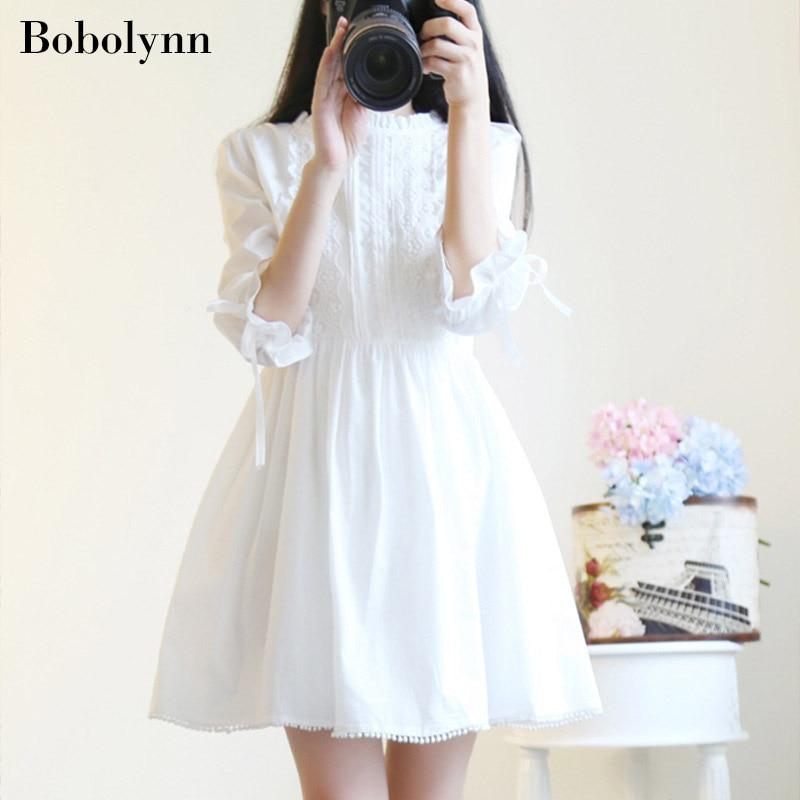 Mujer verano elegante coreano blanco encaje Mini vestido japonés lindo Partido de playa corto 2019 otoño Boho Kawaii ropa vestidos