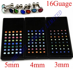 SHUIMEI 40Pcs Opal Stone Charm Ear Tragus Barbell Earring Stud Helix Cartilage Fashion Jewelry Body Piercing  For Lady 16Guage