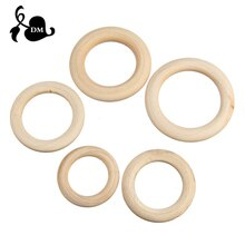 5pcs 40mm/45mm/50mm/55 Wooden Baby Teething Rings Infant Teether Toy DIY Accessories For 3-12 Month
