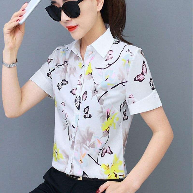 Blusas de chifón de moda coreana con cuello vuelto camisas blancas para mujer talla grande 4XL/5XL Blusas para mujer femininas Elegante