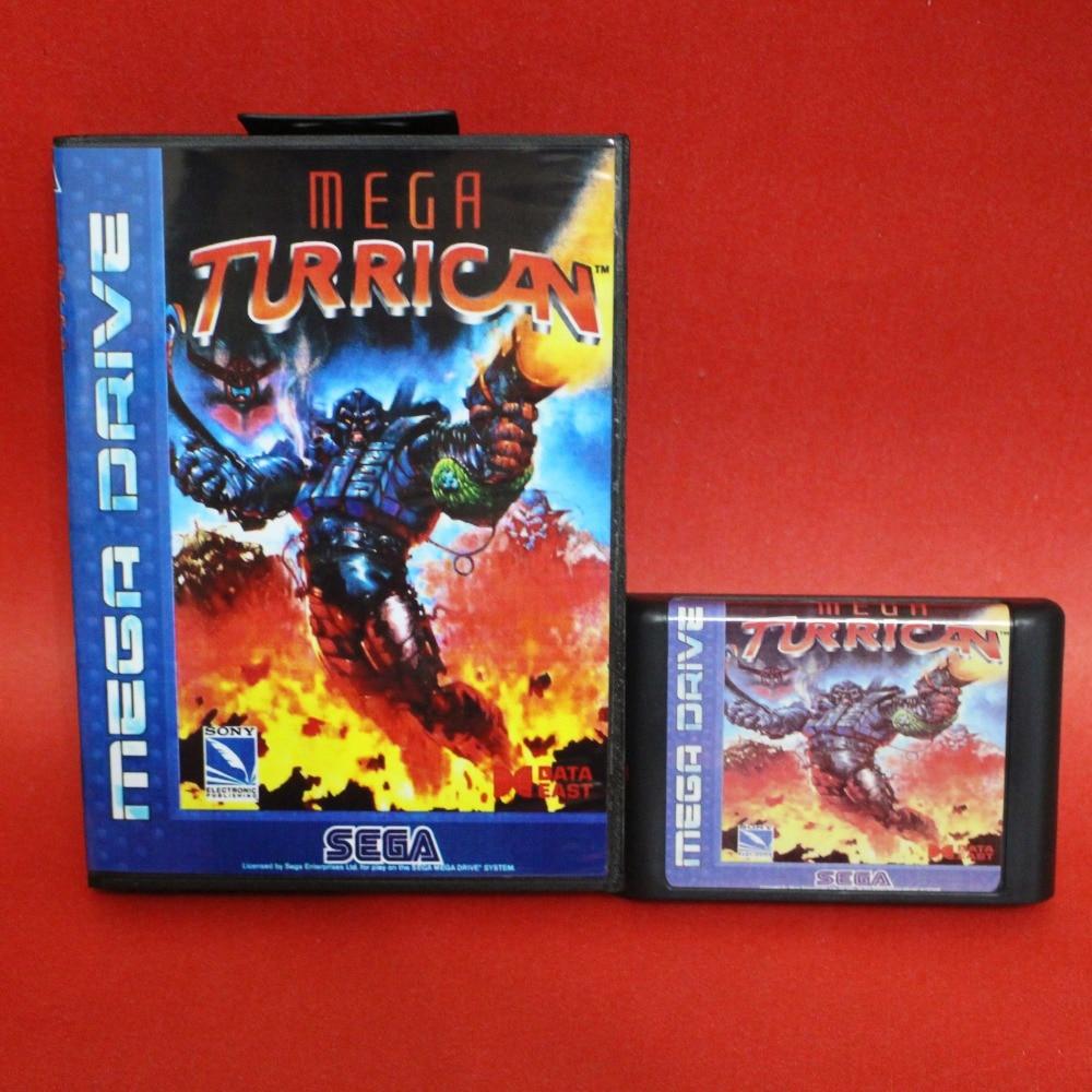 Mega Turrican-Tarjeta MD de 16 bits con caja de venta al por...