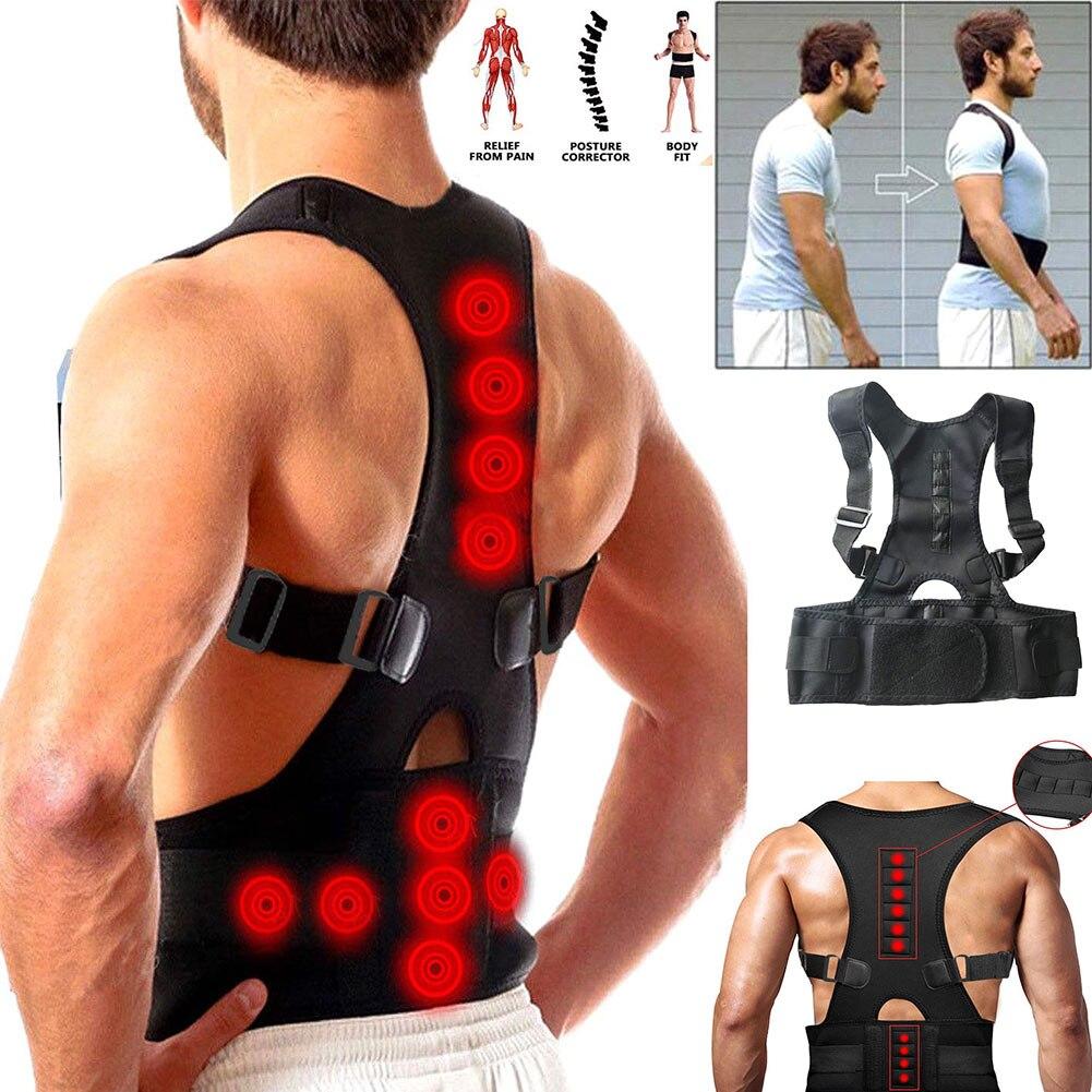 Postura corrector marca ajustável suporte magnético volta ombro cinta cinto unisex ímã terapia correias postura corrector