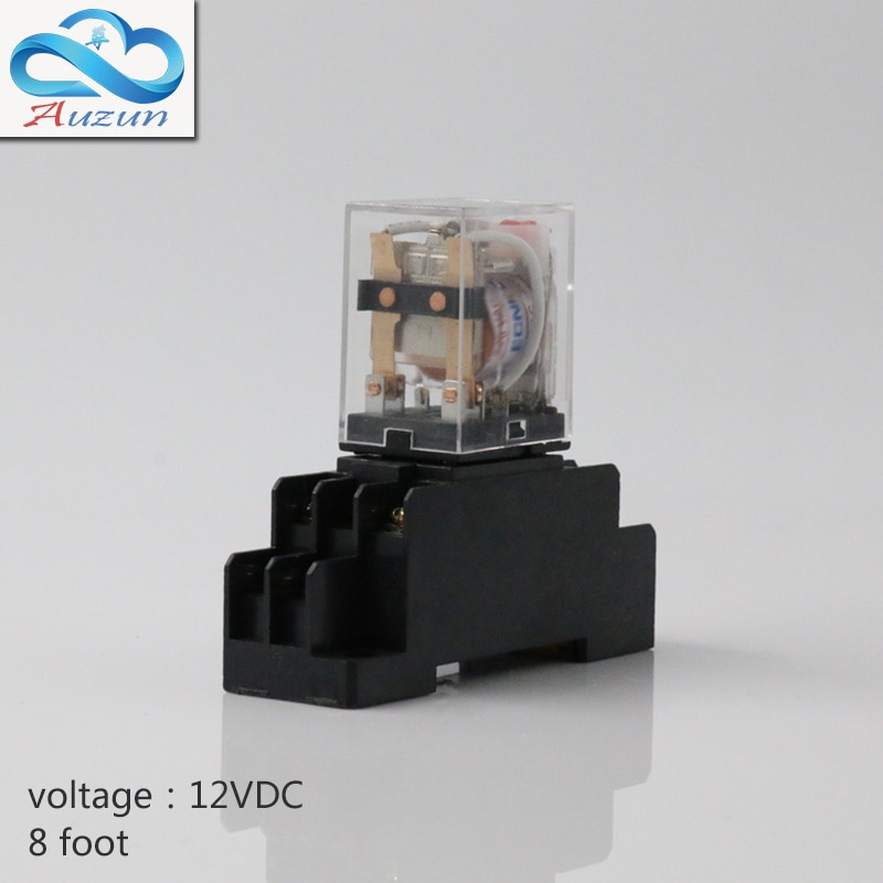 Cinco peças hh52P pequeno dc 12 v relé com intermediário relé base da lâmpada atual é de 5 um contato de prata de oito pés