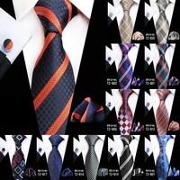 new design plaid tie set jacquard weave silk tie gravata handkerchief cufflinks set pocket square men necktie wedding party gift