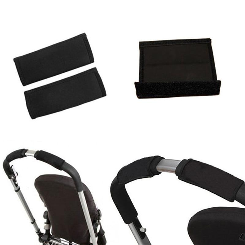 2 pcs/par acessórios carrinho de bebê carrinho de criança carrinho de bebê alça dianteira pram neoprene preto fita mágica pára-choques cobre