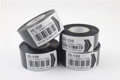 Fita de transferência térmica de tinta de fita de impressora térmica fita de código de correia preta redonda XG-08