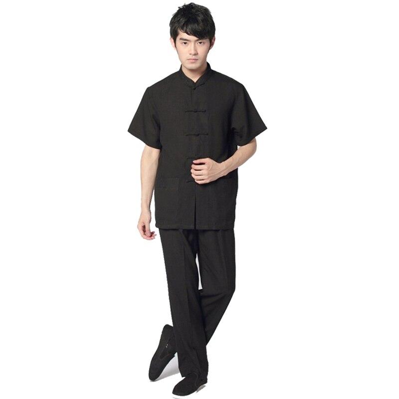 بدلة الكونغ فو الصينية التقليدية للرجال ، ملابس ذات أكمام قصيرة ، زي قميص وبنطلون ، مقاسات S M L XL XXL XXXL 011318
