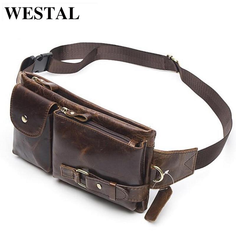WESTAL حقيقية الجلود الخصر حزم الرجال الخصر فاني حزمة حزام حقيبة الهاتف أكياس السفر الخصر حزمة الذكور الصغيرة الخصر حقيبة جلدية