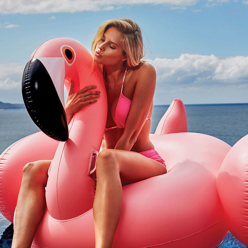 150CM 60 pulgadas flamenco inflable gigante mujeres piscina flotador Cisne Rosa lindo paseo al aire libre agua fiesta juguetes para niños adultos boia