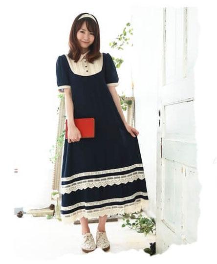 Кружевное длинное платье Mori Girl в японском стиле, синее длинное платье из эластичного хлопка с короткими рукавами на лето