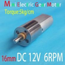 Mini dişli Motor 12V DC 6RPM elektrikli yüksek tork motor oyuncaklar dc 12v Motor