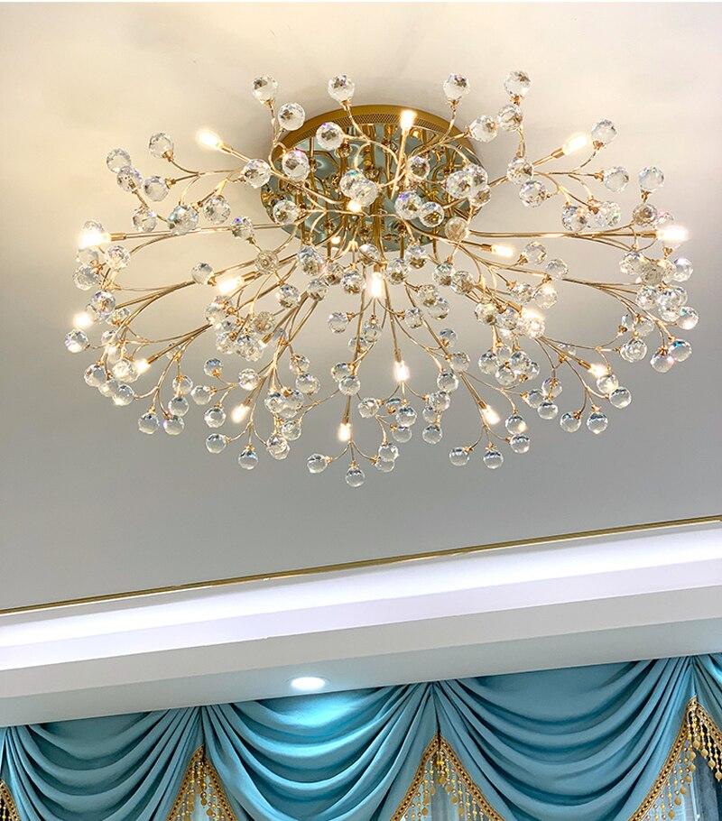 الإضاءة الشمال LED ضوء السقف الكريستال مصباح السقف الحديثة أضواء غرفة المعيشة Mounted شنت الكريستال الإضاءة غرفة نوم