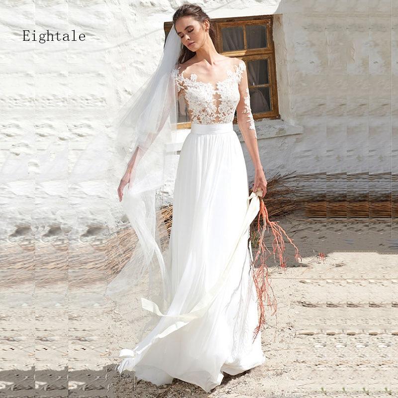Eightale Boho Wedding dress 2019 Long Sleeve Appliques See Through Top Chiffon Skirt Button Back bridal Gown Beach Wedding Gown tie back button detail cami top with skirt