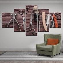 Affiche dimprimés dart mural   Affiche de photos modulaires 5 pièces, outils de coiffure, ciseaux stylisme, toile de peinture, décor de Salon de beauté à la maison