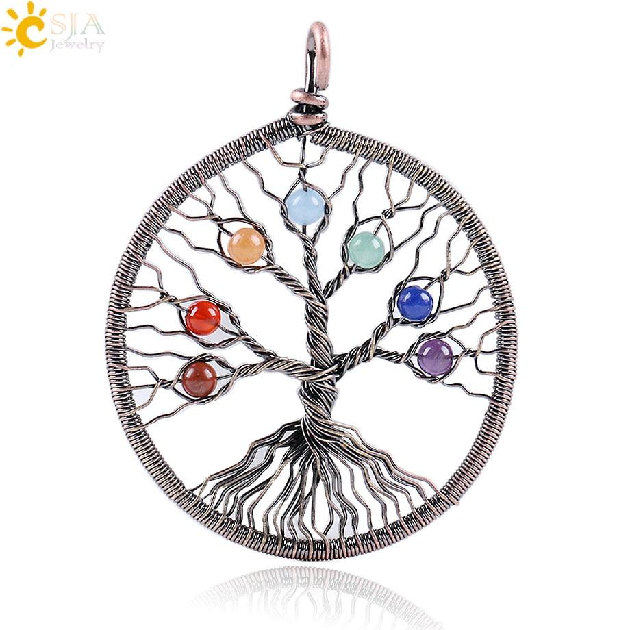 CSJA nuevo Reiki 7 Chakra colgante con cuentas y piedras redondas para collar antiguo alambre de cobre envoltura completa Árbol de la vida joyería hecha a mano E268