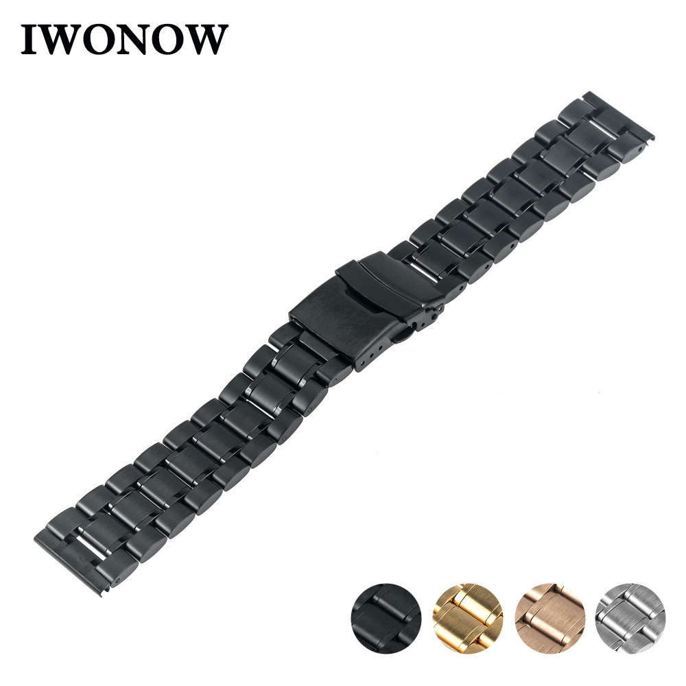 Faixa de Relógio de Aço inoxidável 24 22 20 18 16mm mm mm mm mm para Jacques Lemans Segurança Buckle Strap correia de pulso Pulseira de Prata Ouro Negro