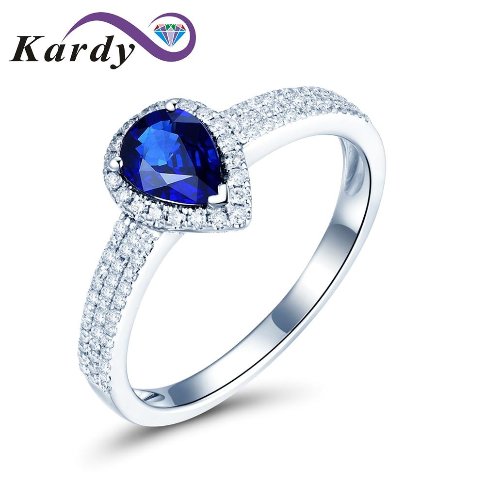 خاتم خطوبة من الذهب الأبيض والياقوت للنساء ، خاتم زواج ، أحجار كريمة طبيعية ، 14 قيراط ، صلب ، أزرق غامق