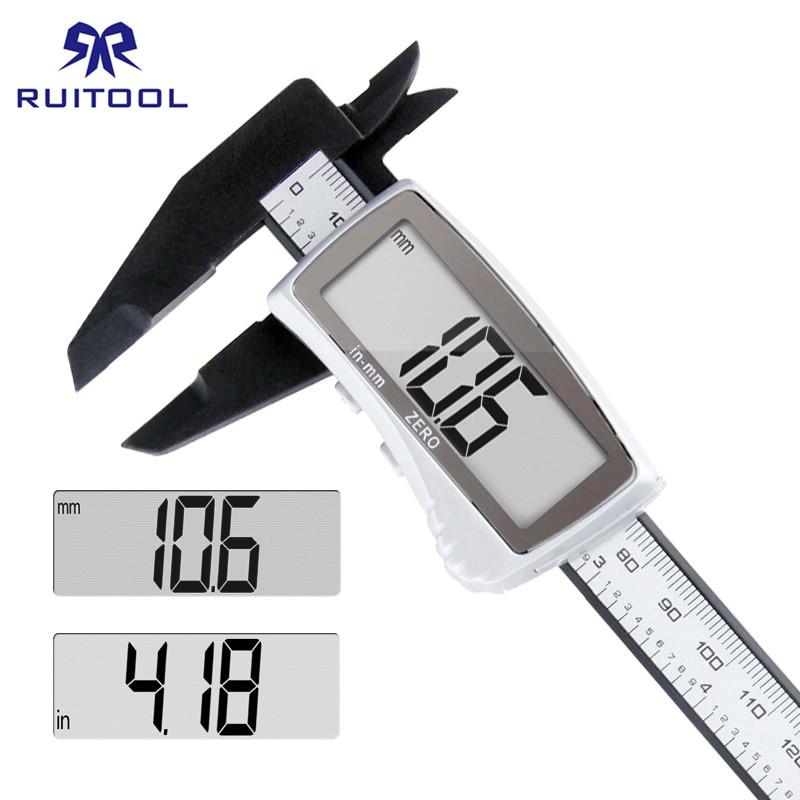 Pinça digital 0-150mm/0.1mm plástico grande micrômetro lcd métrica/Polegada eletrônico vernier caliper para a medida da beleza da joia