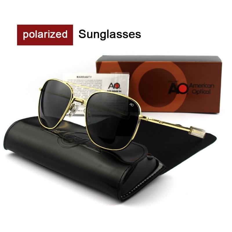 Мужские армейские солнцезащитные очки-авиаторы AO в стиле милитари США с закаленным стеклом и синими линзами модные высококачественные пол...
