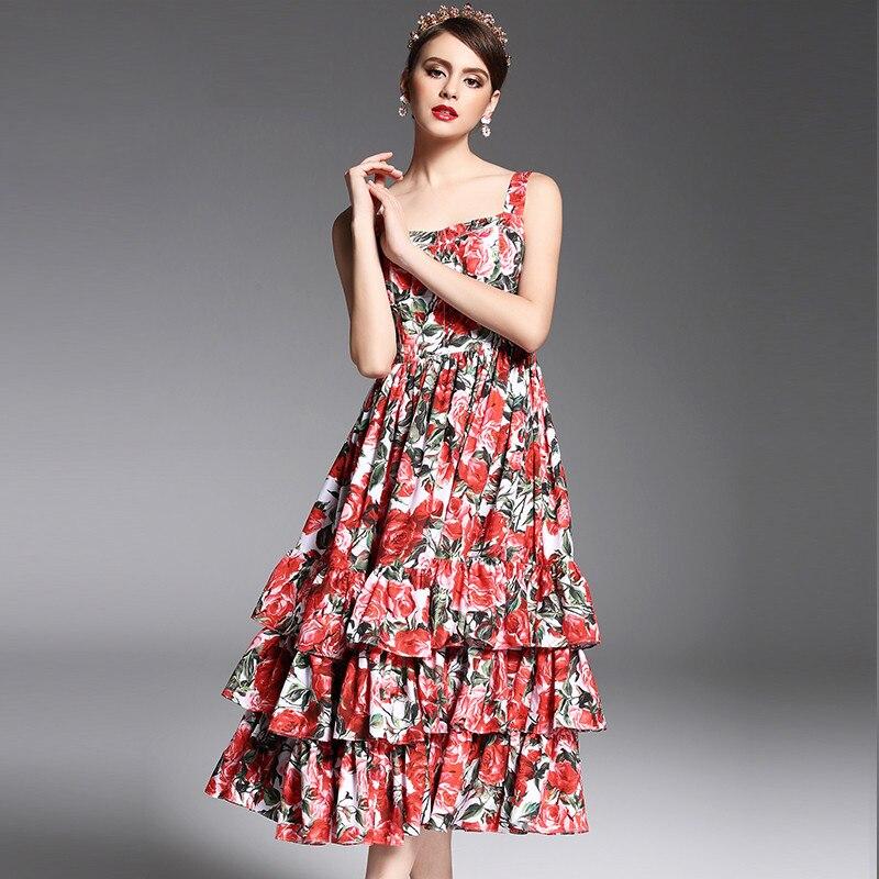 2017 Mais Novo de Verão Designer de Moda Runway Vestido de Alcinhas das Mulheres Sexy Em Camadas Rosa Vermelha Floral Impresso Vestido Meados Bezerro