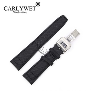 CARLYWET 20 21 22mm Black Nylon Fabric Leather Band Wrist Watch Strap Belt With 316l Stainless Steel Deployment Clasp