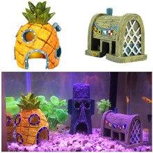Resin Artificial Aquarium Spongebob Decoration Boat Dinosaur Skull Ornament Fish Tank Stone Decor Rock Cave for Fish Shrimp